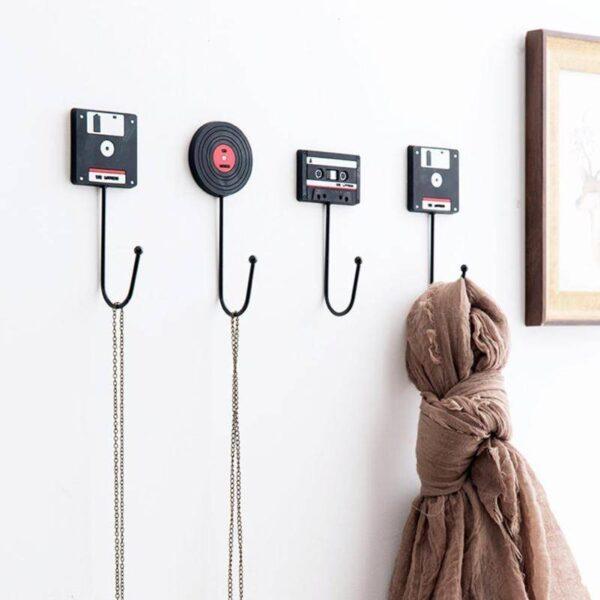 Retro Wall Hook Hanger – Vinyl Record – Cassette – Floppy Disk Home Decoration Kitchen Accessories