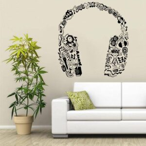 Music Series Headphones In Music Notes Tribal Pattern Special Vinyl Wall Sticker Home Bedroom Decor Vinyl Art Wallpaper Y-970 Home Decoration Wall Stickers