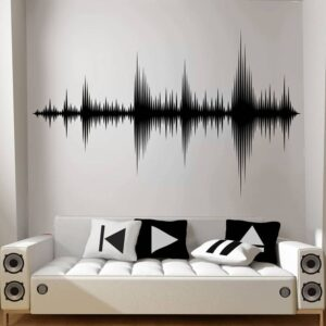 Audio Wave Wall Decal Sound Wave Art Vinyl Sticker Recording Studio Music Producer Room Decor Wallpaper Large Size E211 Home Decoration Wall Stickers