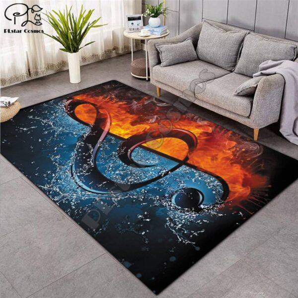 Vinyl Record on Fire Carpet Carpets Home Decoration