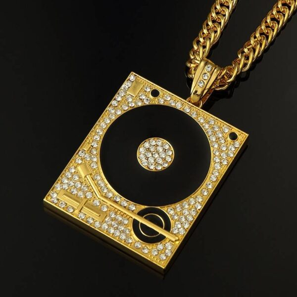 Turntable Necklace Gold or Silver with Rhinestone Bling Jewellery & Watches Necklace